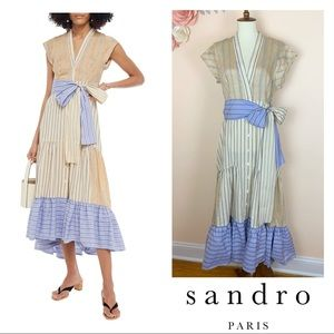 New! Rare SANDRO Paneled Striped Linen Midi Dress
